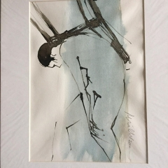 Carlos mit Stuhl, Tusche a. Papier, 21 x 29