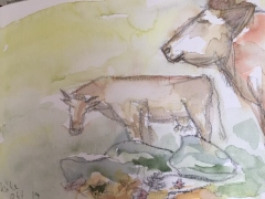 Spaziergang mit Chilly, Aquarell  17 x 20